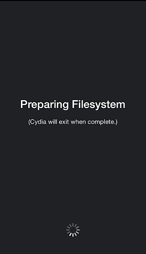 cydia initializing and preparing file system
