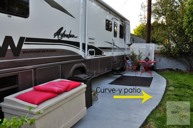 Added a curvy patio to the RV cement parking pad ::OrganizingMadeFun.com