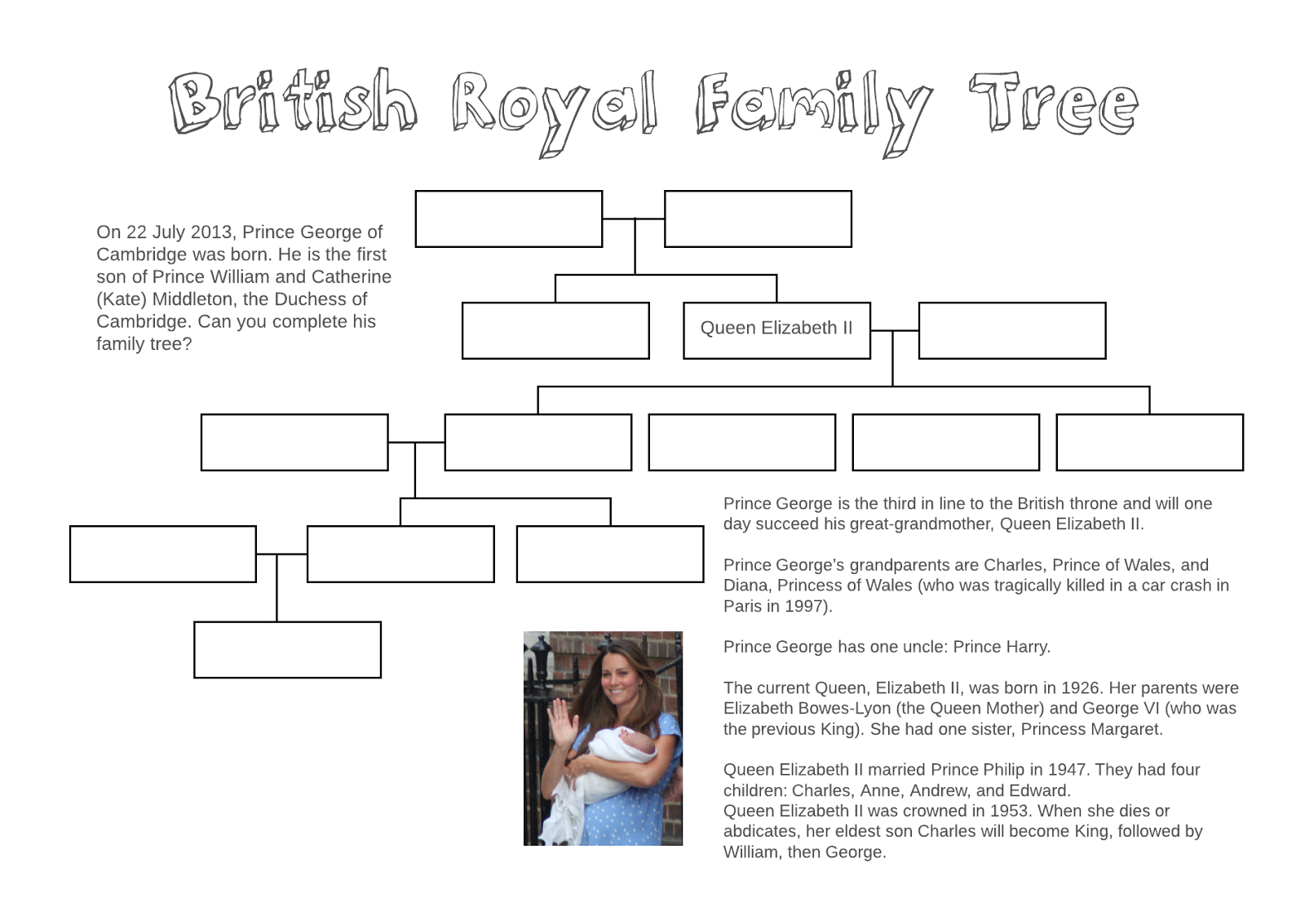 Adventures in TEFL British Royal Family Tree free printable – Family Tree Worksheet