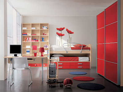 Girls Bedroom Design With Red