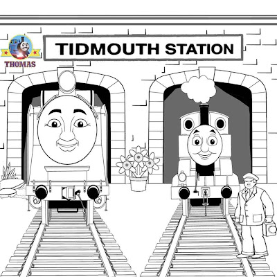 Free locomotive train cartoon pictures Thomas and Hiro coloring pages for kids to print and color in