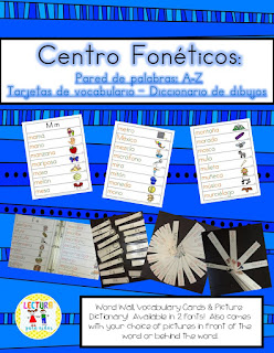 https://www.teacherspayteachers.com/Product/Spanish-Centro-foneticos-005-A-Z-diccionario-pared-de-palabras-500157