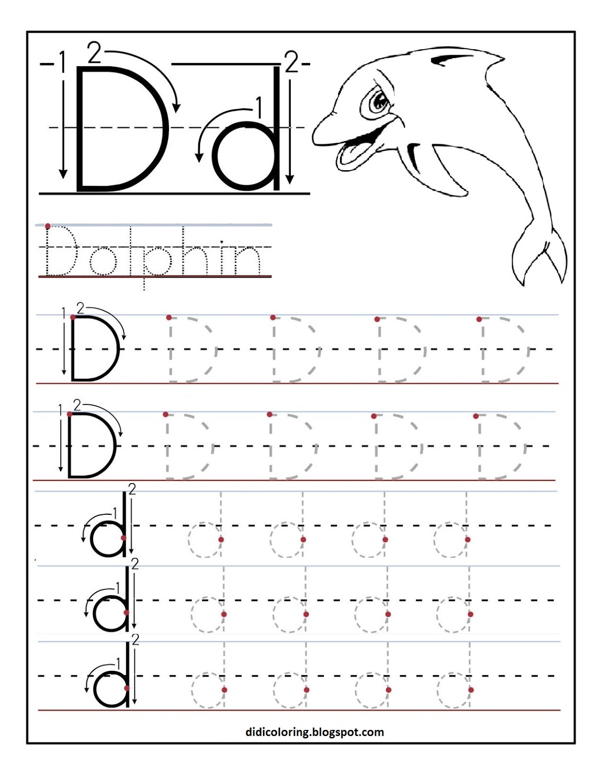 Free printable worksheet letter D for your child to learn and ...