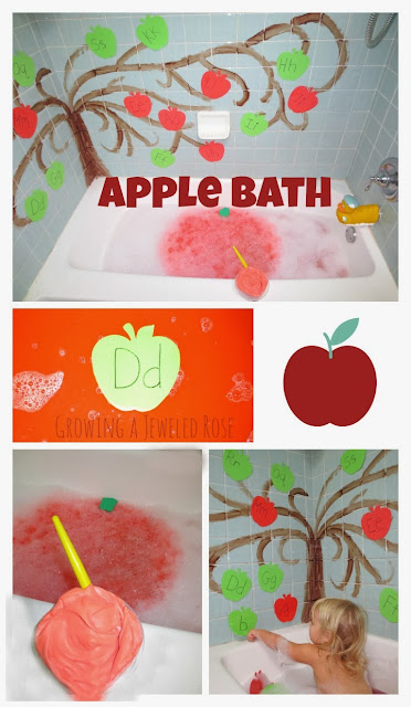 Apple bath time fun- bubbles, paint, and more!