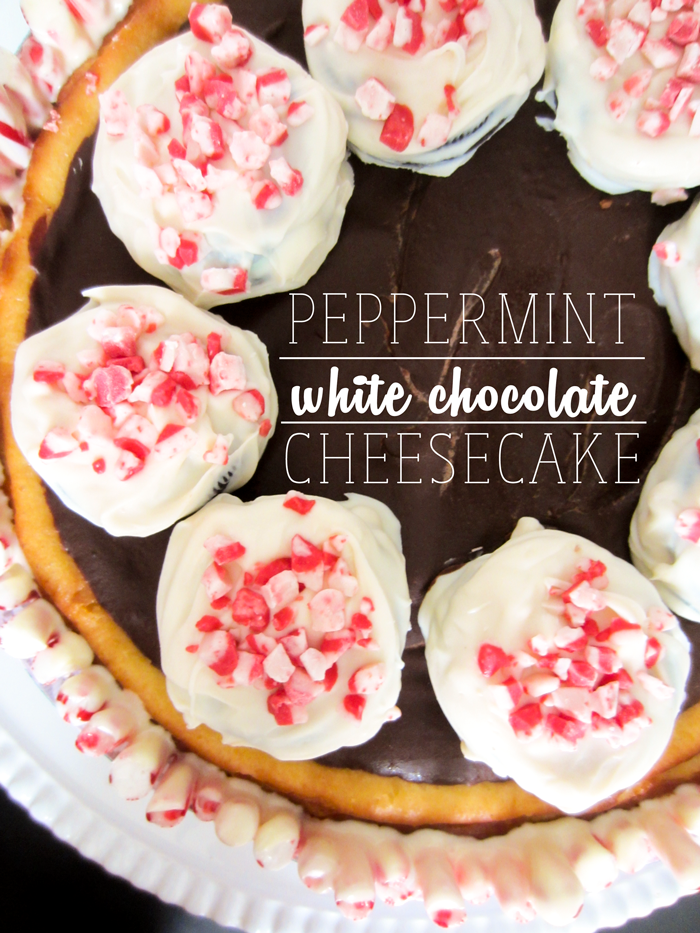 Peppermint White Chocolate Cheesecake | This easy stunner is topped with white chocolate covered peppermint Oreos. Holiday bliss! clubnarwhal.blogspot.com