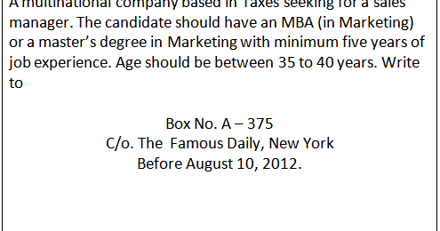 Business communication: Write an application for the following ...
