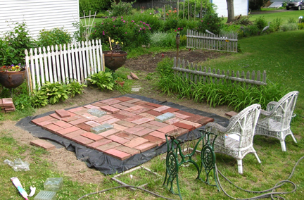 Patio project with brick pavers and glass blocks