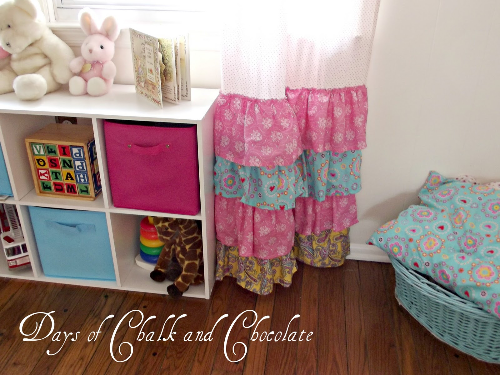 girly ruffled curtains and inspiration days of chalk and