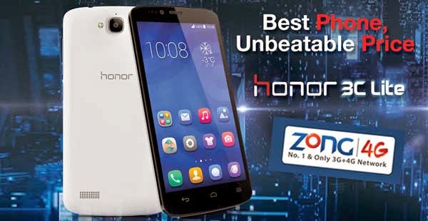Huawei  Honor 3C Lite With Free Zong Internet
