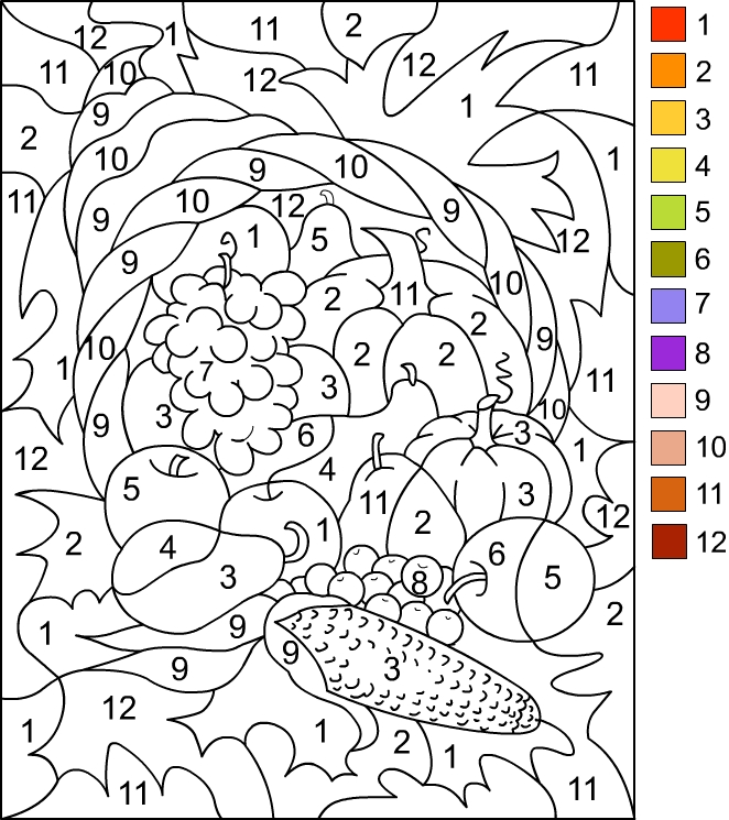 Thanksgiving Color by Number Coloring Pages high resolution