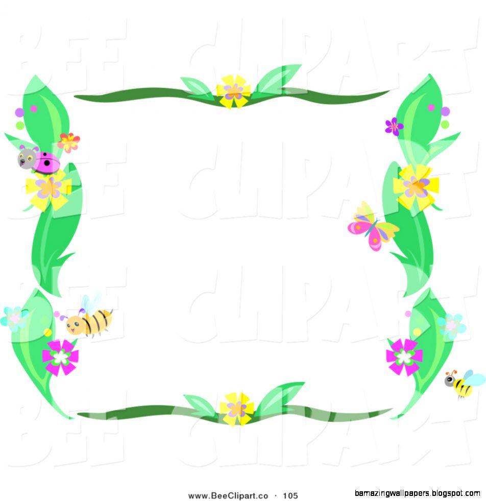 Flower Bee Border Clip Art