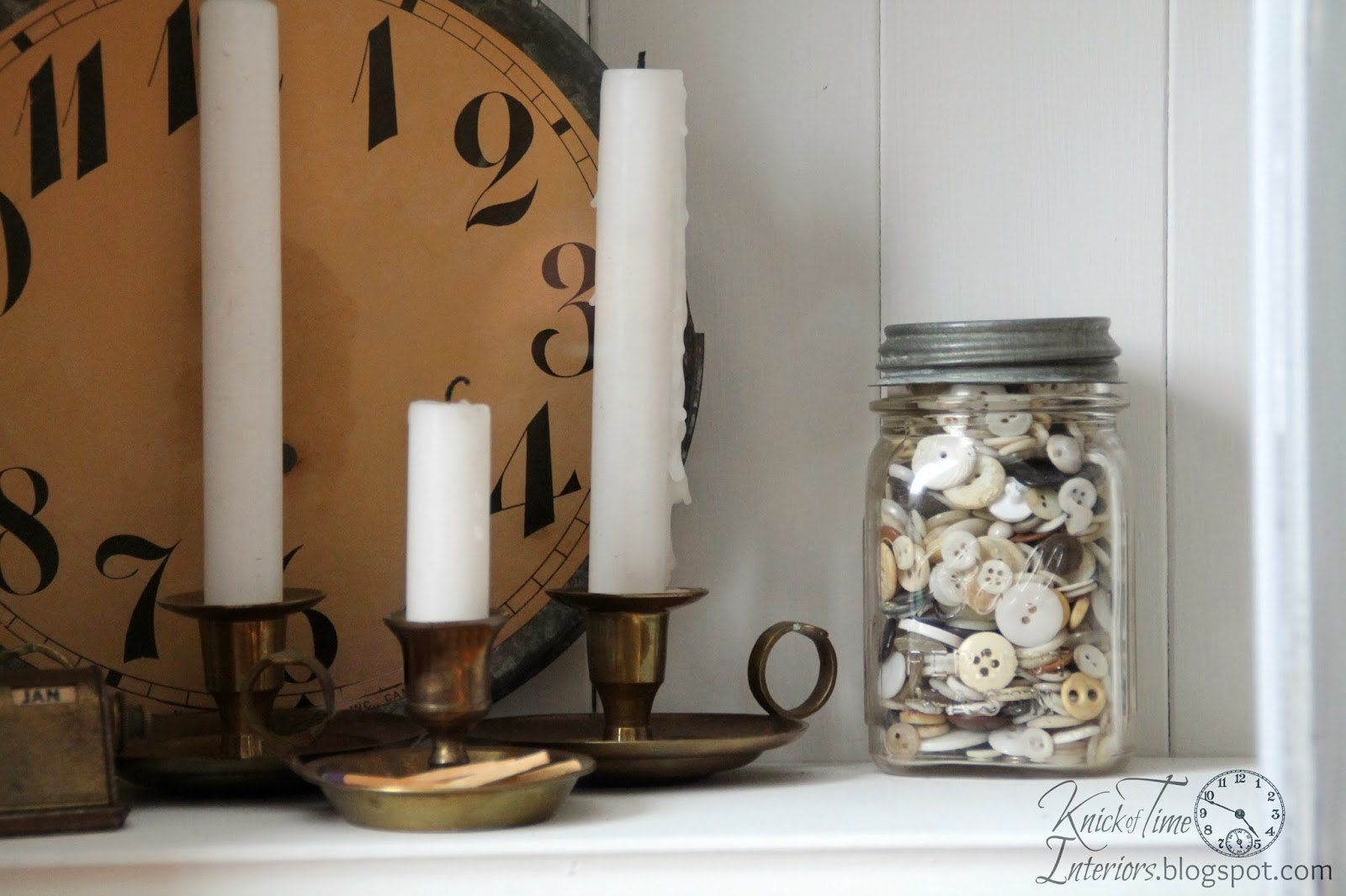 Antique Clock Face with Brass Candlesticks and antique buttons via Knick of Time