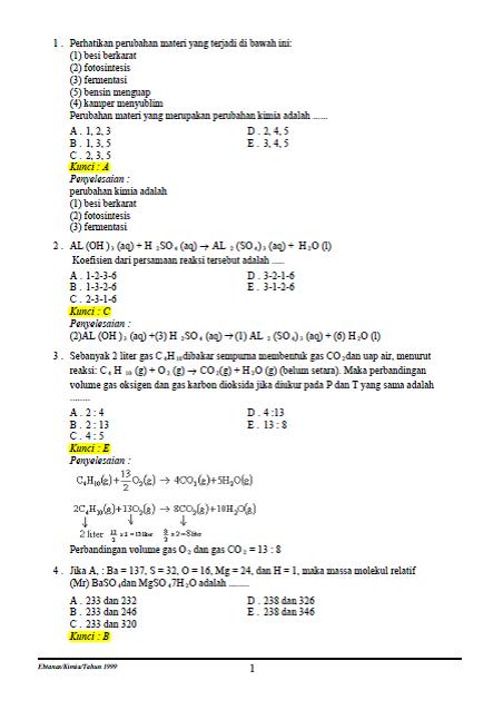 Soal Dan Pembahasan Un Kimia 1999