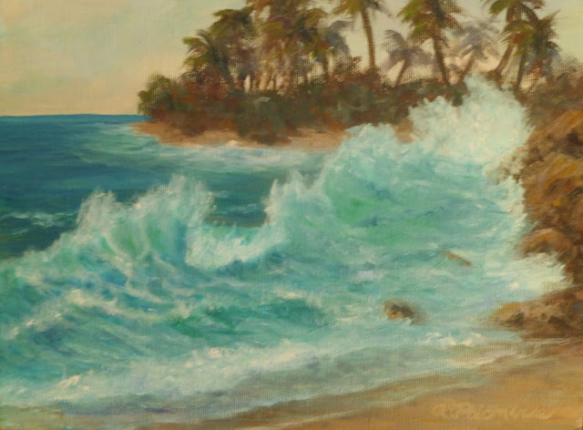 Beach painting of a rocky coast