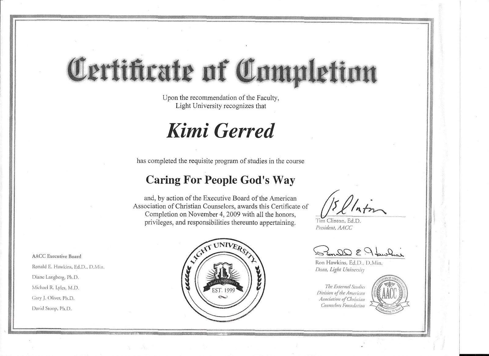 AACC Certificate