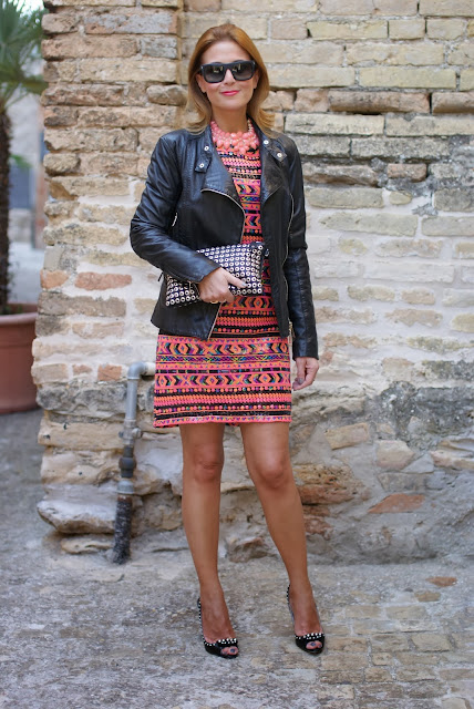 romwe sequin dress, leather motorcycle jacket, Miu Miu studded heels, Fashion and Cookies, fashion blogger
