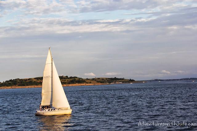 sailboat at sunset, boston harbor