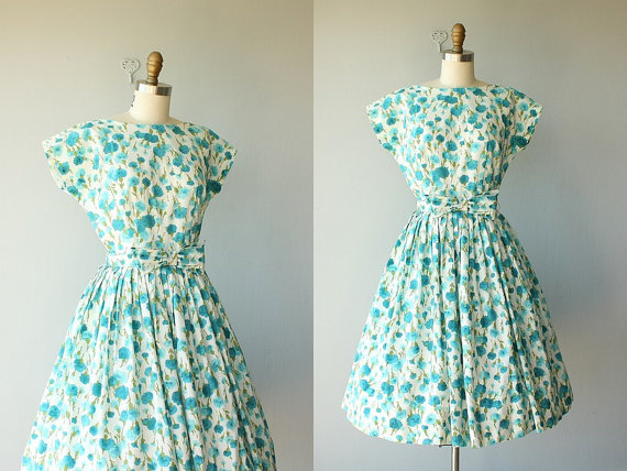 Custard Heart Vintage 1950s floral dress