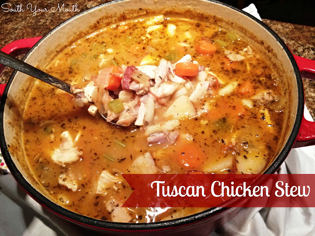 Tuscan Chicken Stew! A hearty country Italian chicken stew with white beans and red potatoes.