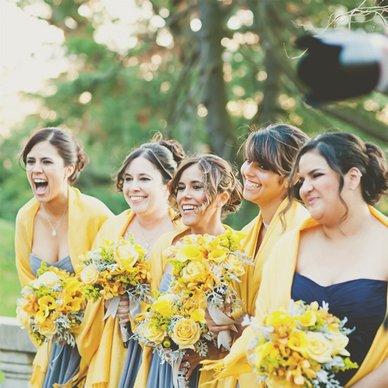 Yellow, gray, and navy blue fall wedding
