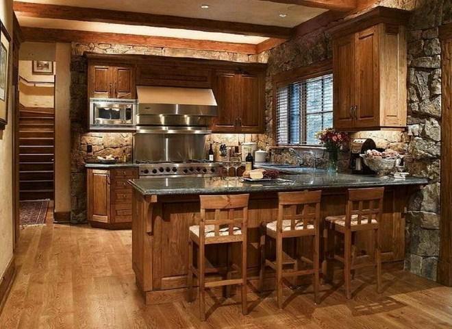 Beautiful Kitchens Design Ideas with Stone Walls - HAG Design