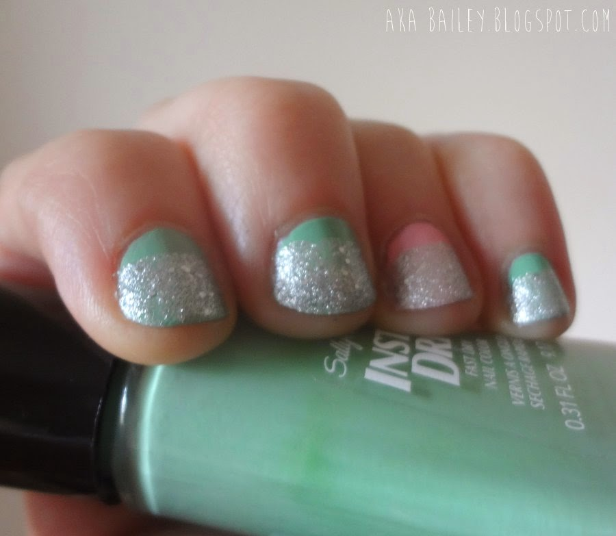 Sally Hansen pastel polishes with silver glitter