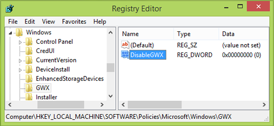Disable windows 10 auto upgrade and remove GWX icon from taskbar using registry tweak