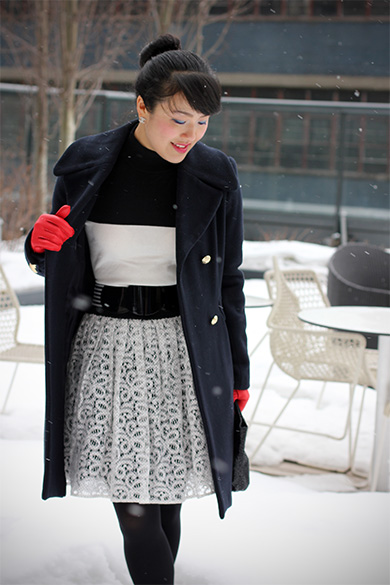 Forever 21 High neck black & white sweater with Anthropologie Ninette skirt