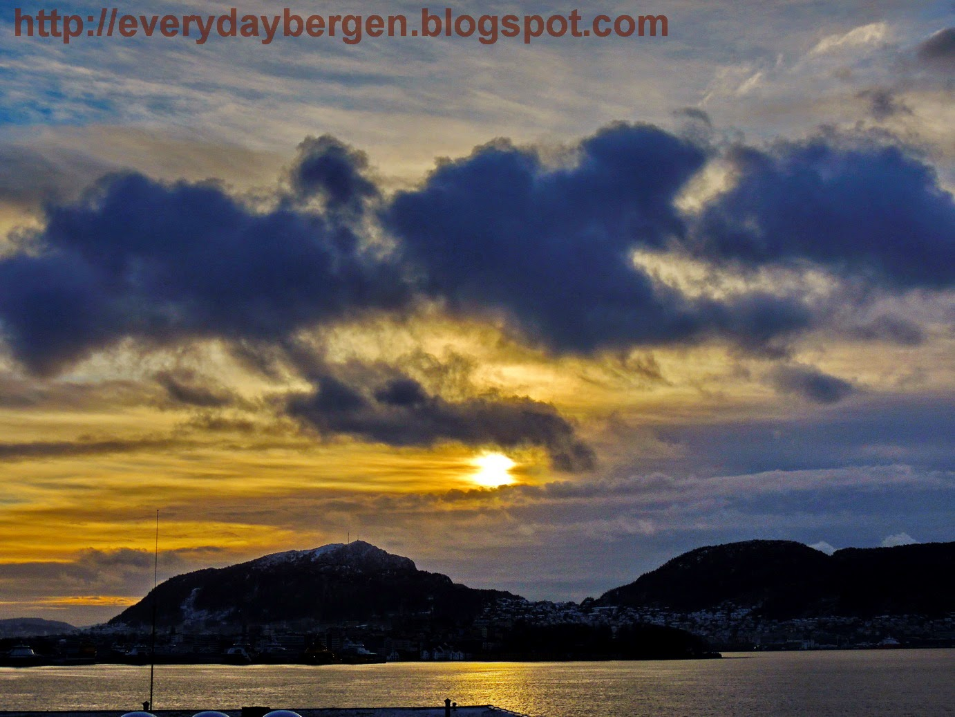 Winter sun over Bergen