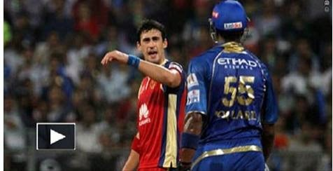 SPORTS, ipl 2014 video, keiron pollard, mitchal starck, cricket video, cricket fight video,