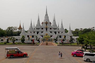 White Buddhist Stupa Wat Asokaram Thailand