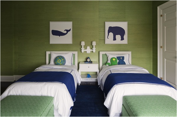 it really makes a statement in this blue and green bedroom love it