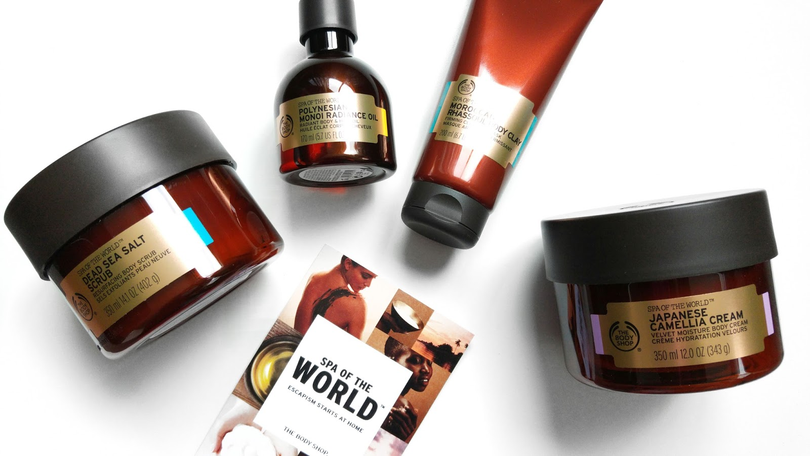 The Body Shop Spa of The World Review, The Body Shop Review, The Body Shop Spa Range, The Body Shop Dead Sea Salt Scrub, The Body Shop Polynesian Monoi Radiance Oil, The Body Shop Moroccan Rhassoul Body Clay, The Body Shop Japanese Camella Cream