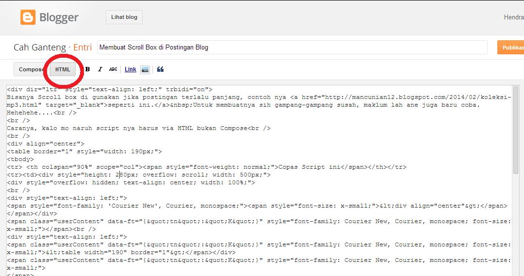 Membuat Scroll Box di Postingan Blog