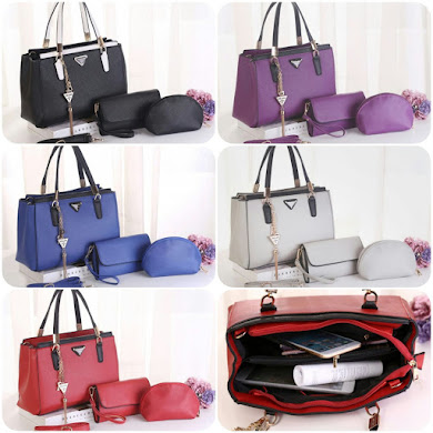 PRADA BAG ( 3 IN 1 SET ) - BLACK , BLUE , GREY , PURPLE , RED