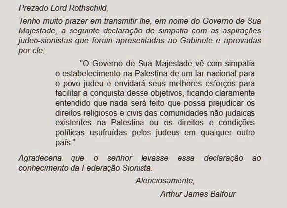 Declaração de Balfour, texto em portugues