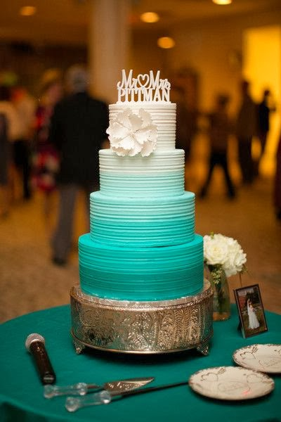 Aqua Blue And Chocolate Brown Wedding Cake