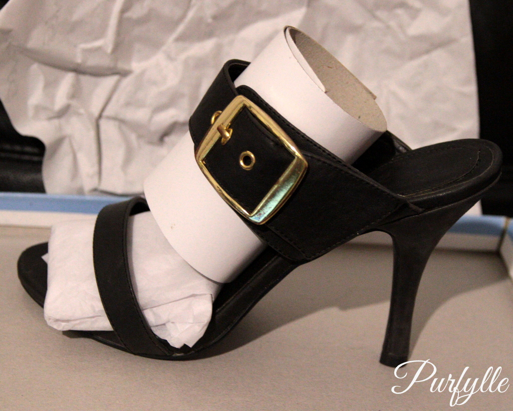 4 1/2 inch heels with large brass buckle