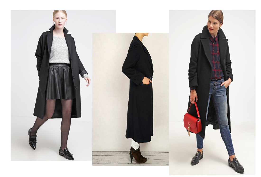 płaszcz zima 2016 czarny trendy