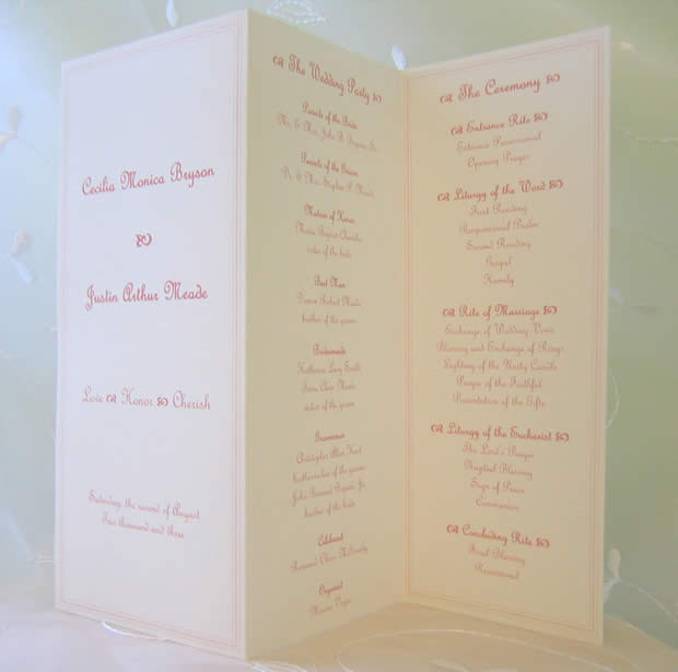 tri fold wedding programs templates
