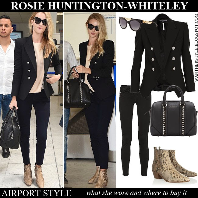 Rosie Huntington-Whiteley in black silver buttoned blazer Balmain, black  skinny jeans Frame Denim 987cd1dc72