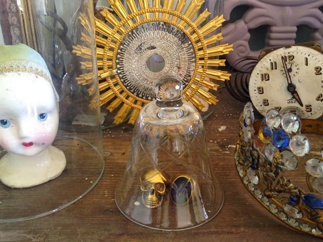 cloches en verres ciselés vintage - cabinet de curiosités