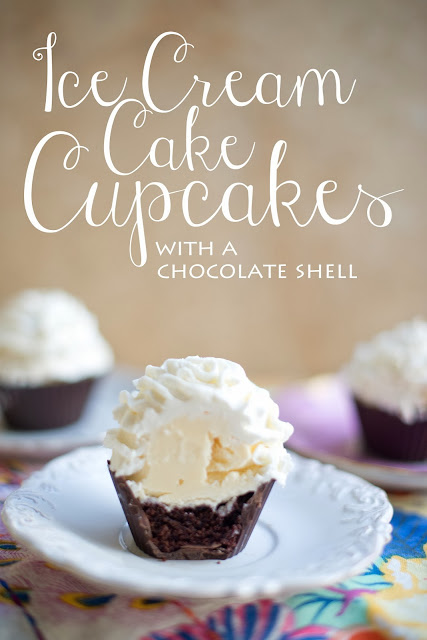 Ice cream cake cupcakes made with a chocolate shell.  domesticfashionista.com