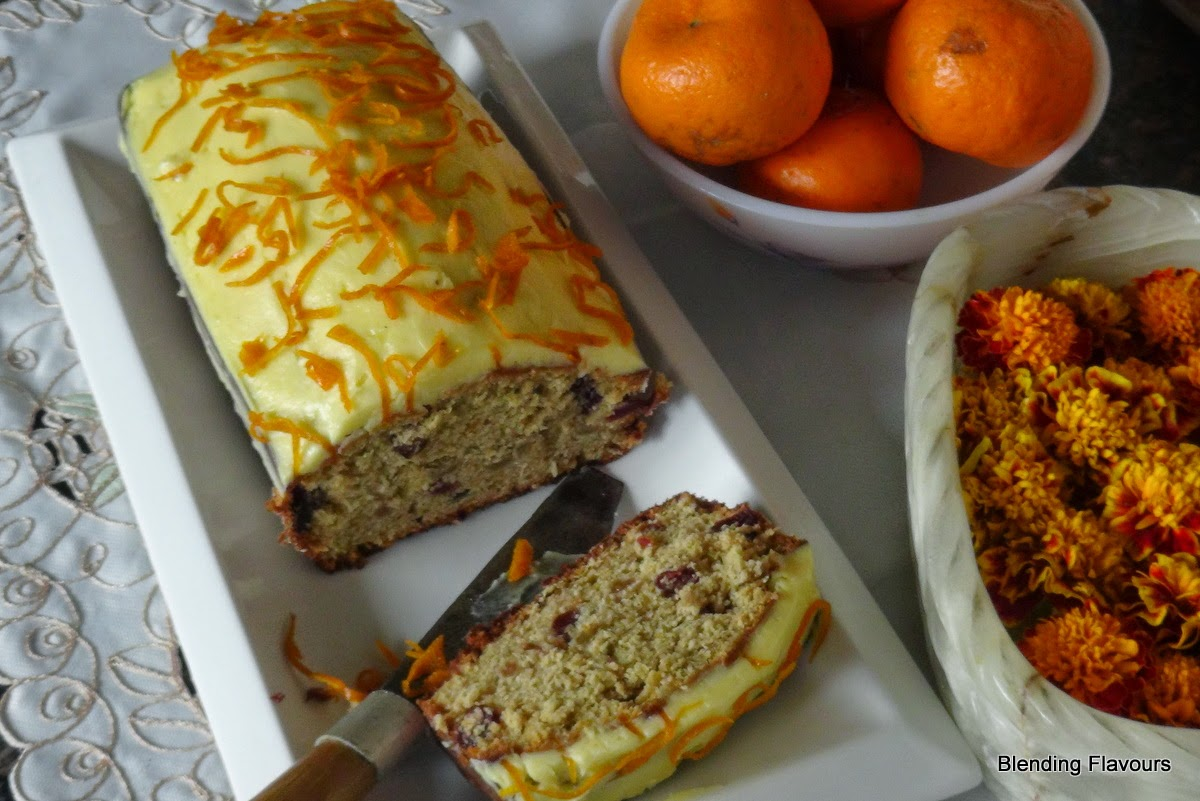 Coffee loaf with orange frosting