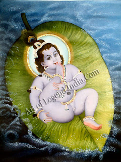 Vishnu lying on the leaf that floats on the waters of doom