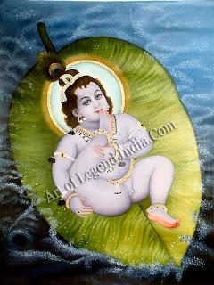 Vishnu lying on the leaf that floats on the waters of doom