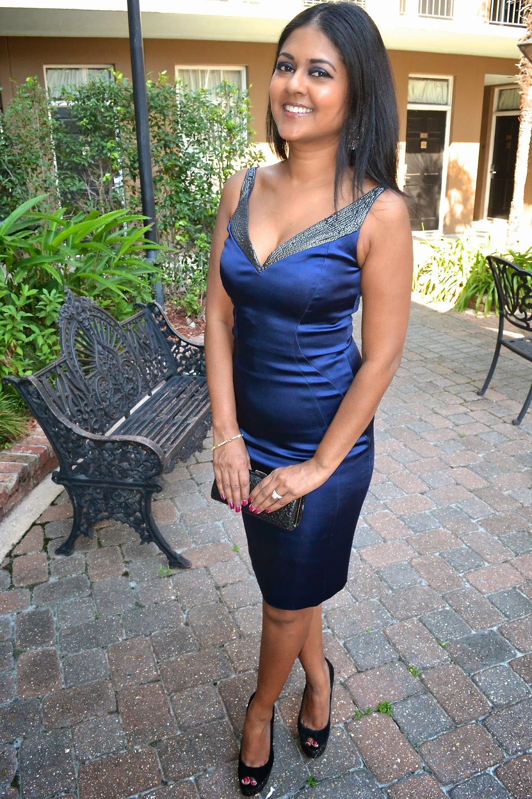 tahari blue dress sequin brian atwood shoes