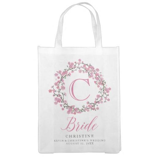 Personalized Floral Wreath Monogram Bride Tote Bag