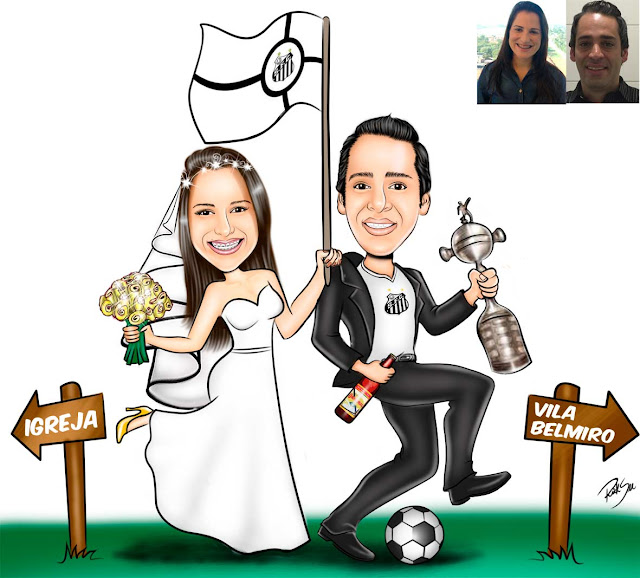 #bola #ilustração #vestido #amor #união #felicidade #cartoon #caricatura #caricature #desenhando #riicksucaricaturas