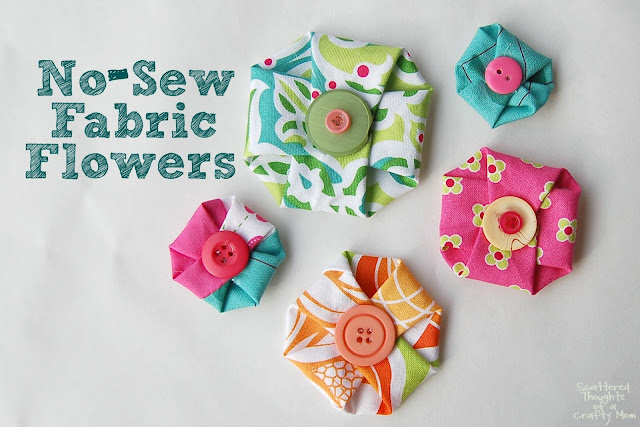 Make these adorable, no-sew fabric flowers in in less than a minute!  They are perfect for so many projects.